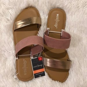WEST LOOP rose gold and tan sandals